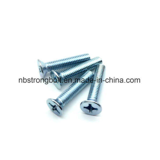 Zinco Cr3 + Cross Recessed Countersunk Flat Head Screw / China máquina parafuso fábrica, China máquina parafuso fabricante